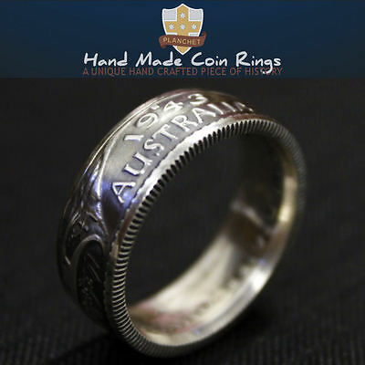 Australian Sterling Silver Coin Ring. Pre Decimal Florin 925. Two Shilling. Gift