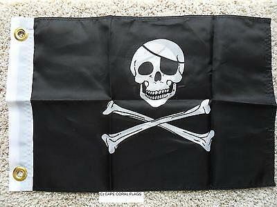 """12""""x18"""" Jolly Roger With Patch  Double Sided Flag"""