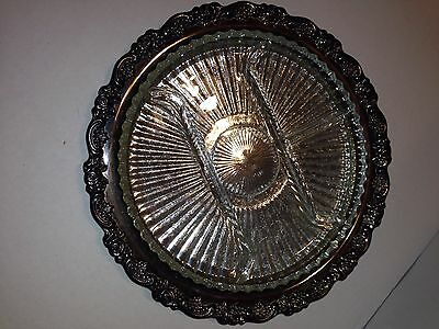 "Wm Rogers Holloware by Oneida 12 1/2"" Relish Dish Silverplate Divided Glass Tray"