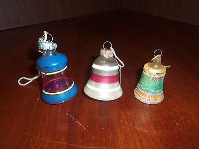 Vintage Lot of 2 Shiny Bright 1 German Glass Bell Christmas Ornaments USA