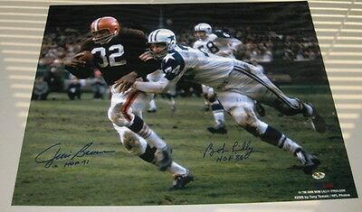 Jim Brown & Bob Lilly Autographed 16x20 Photo Cleveland Browns Dallas Cowboys