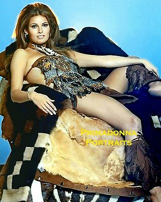 RAQUEL WELCH 8X10 Lab COLOR Photo SEXY Fringe Boots Fur Cavewoman Relaxed Babe