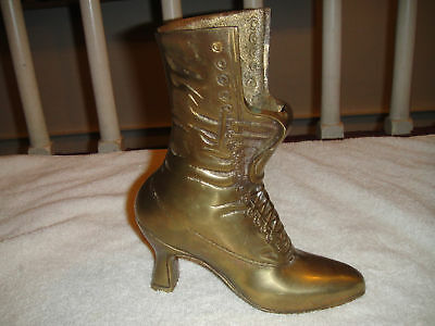 Vintage Brass Woman's Boot With High Heel-Large & Heavy Boot-Great Decor Item