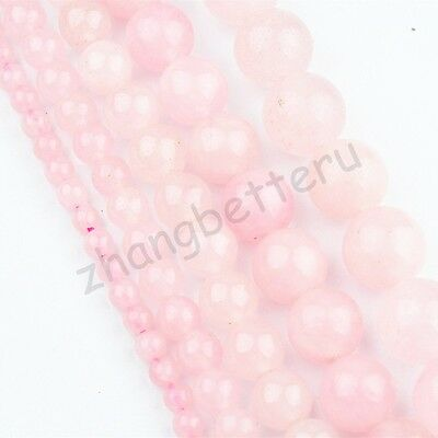 "Natural Rose Quartz Gemstone Round Loose Spacer Beads 15"" Strand 4 6 8 10 12 mm"