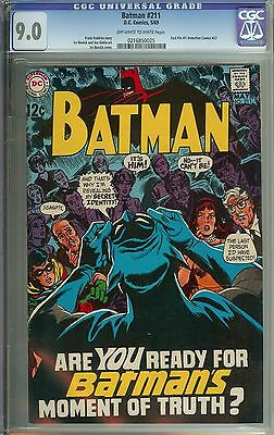 Batman #211 Cgc 9.0 Ow/wh Pages // Irv Norvick Cover