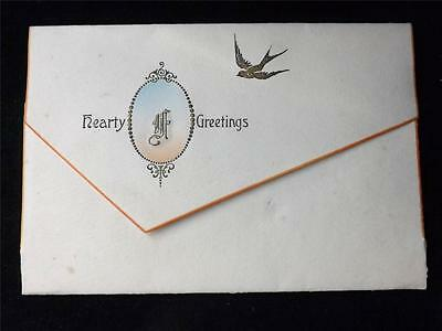 Old Vintage / Antique Greetings Card Hand Designed Inside