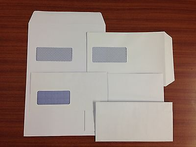 DL, C5, C4, C6 ENVELOPES SELF SEAL WHITE 80 + 90 gsm WITH / WITHOUT WINDOW + 24H