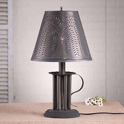 Seven Mold Round Table Lamp w/ Willow Tin Shade in Black | Colonial Lighting