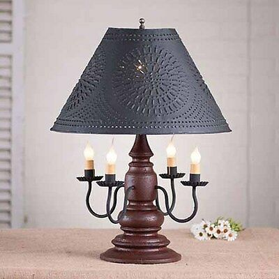 Harrison 4-arm Wooden Table Lamp w/ Punched Tin Shade | Primitive Colonial Light