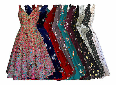 WOMENS 40's 50's VINTAGE STYLE BIRD PRINT WRAP STYLE TOP FLARED PARTY DRESS NEW