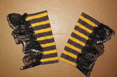 NWT Bee Mitts Gauntlets Gloves Sequin edged Dance Theatrical Accessory