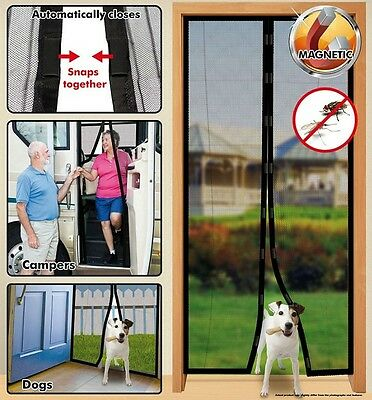 Instant Mesh Screen Door Magnetic Hands Free Bug Net Mosquito Fly Pet cockroach