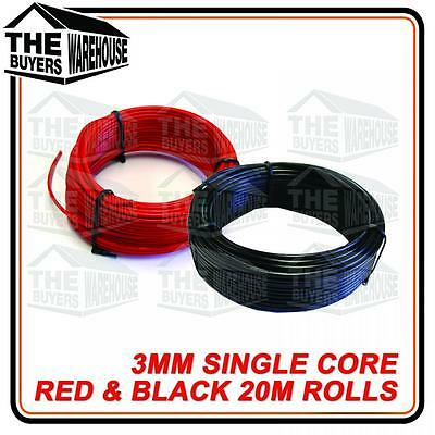 Auto Cable 3Mm Wire Twin Pack 20M Metre Rolls Red & Black Single Core