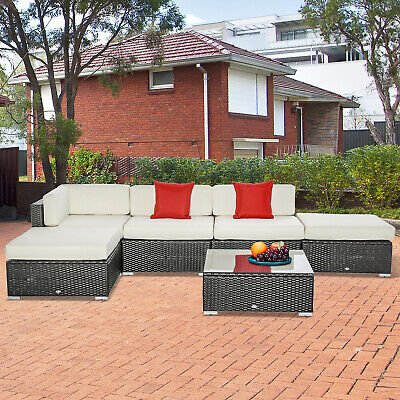 Outsunny 6pcs Deluxe Rattan Sofa Set Outdoor Furniture All-weather Patio Wicker