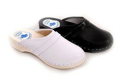 Men's Hand Made Clogs Geniune Leather Healthy Mules Wooden Sole Shoes DM