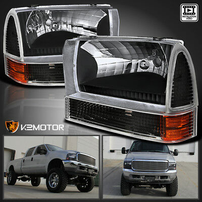 99 F350 Headlights >> For 99 04 Ford F250 F350 F450 Superduty Excursion Black Headlights Corner Lamps