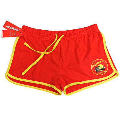 Ladies Licensed Baywatch ® Draw String Red & Yellow Shorts - Life Guard New