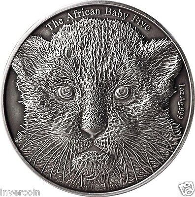 Leopard The African BABY Five 1oz pure silver coin 5000 Francs Burundi 2014