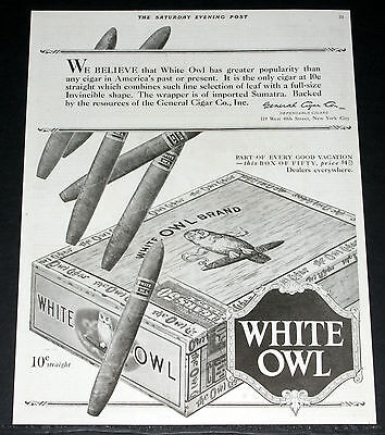 1920 Old Magazine Print Ad, General,  White Owl Brand Cigars, Box Of Fifty, Art!