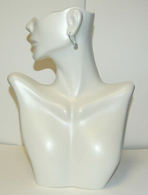 Mannequin Necklace Earring Jewelry Display White Bust Holder
