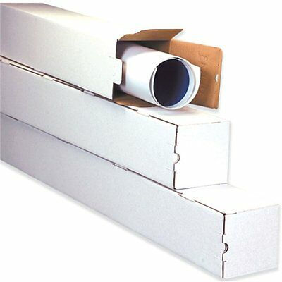 3x3x18 White Box Corrugated Square Mailing Tube Shipping Storage 50 Tubes