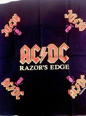 VINTAGE AC/DC RAZORS EDGE BANDANA 1990 True Vintage Rare New Mint Never Worn