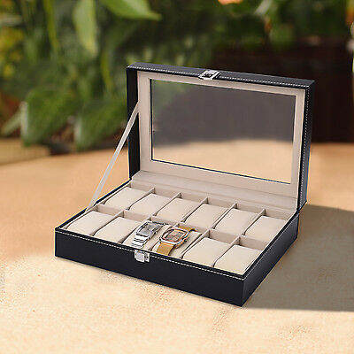 HOMCOM 12 Watch Box Display Jewelry Storage Holder Case Faxu Leather