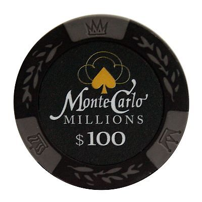 50pcs Matte Monte Carlo Millions Clay Poker Chips $100 Black 14 Gram