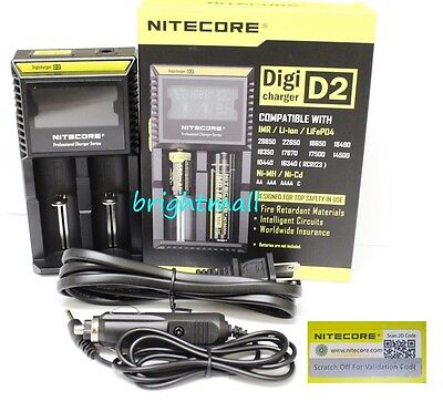 NEW 2019 NITECORE D2 Digi charger For AA 18650 14500 18350 10400 w/car charger
