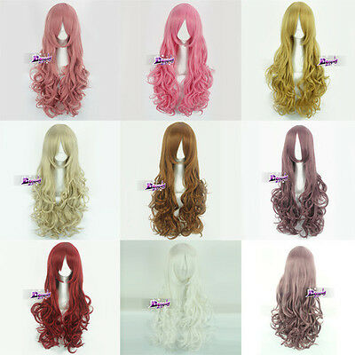 New Style Lady Girl Fashion Long Curly Anime Cosplay Hair Wig With Free Wig Cap