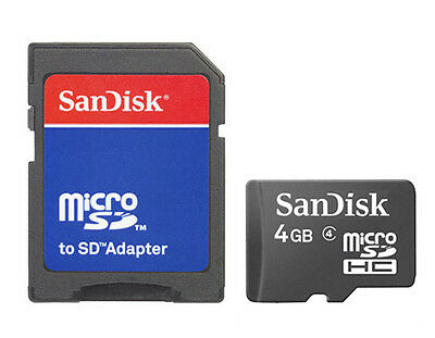 Lot of 5 SanDisk 4GB Micro SD Micro SDHC TF Class 4 Flash Memory Card + Adapter