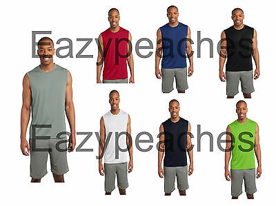 SPORT TEK SLEEVELESS Moisture dri fit Wick MUSCLE T-shirts Mens Size S-4XL ST352