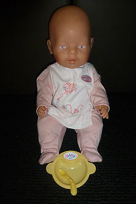 ZAPF 18 INCH DRINK & WET VINYL  BABY DOLL W/ PINK/PURPLE EYES~BABY ANNABELL PJ'S