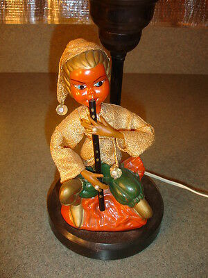 RARE unique Old Vtg Antique Egyptian Girl Playing Musical Instrument Funky Lamp