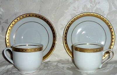PAIR VTG MITTERTEICH BAVARIA GERMANY DEMITASSE TEA CUPS/SAUCERS GOLD TRIM MINT!!