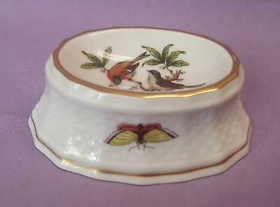 VINTAGE HEREND HUNGARY ROTHSCHILD BIRD HP OVAL OPEN TRINKET RING DISH 254/RO