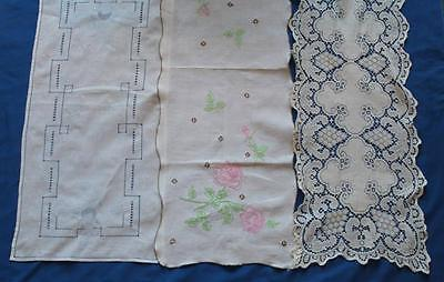 Lot of 3 Vintage Table Runners, Flowers, Embroidered, Lace, R4