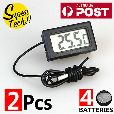 2 Set LCD Digital Temperature Thermometer for Fridge/Freezer/Aquarium/FISH TANK