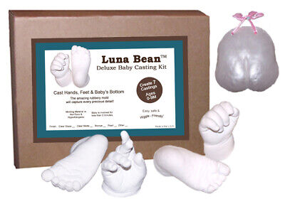 Luna Bean BABY CASTING KIT for Infant Foot Hand Bottom Molds - Makes 7 Keepsakes