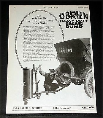 1919 Old Magazine Print Ad, Obrien Heavy Duty Grease Pump, Positive Accuracy!