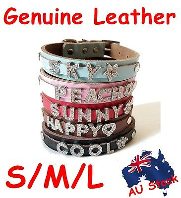 S/M/L Genuine Real Leather Personalised Dog Pet Collar DIY Name Charm 5 Colours