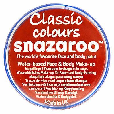 Snazaroo 18ml BRIGHT RED FACE PAINT Fancy Dress Party Stage Make Up Halloween