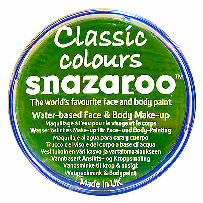 Snazaroo 18ml BRIGHT GREEN FACE PAINT Fancy Dress Party Stage Make Up Halloween