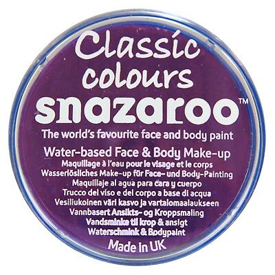 Snazaroo 18ml PURPLE FACE PAINT Fancy Dress Party Stage Make Up Classic Colours