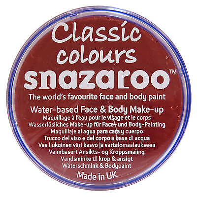 Snazaroo 18ml BURGUNDY FACE PAINT Fancy Dress Party Stage MakeUp Classic Colours