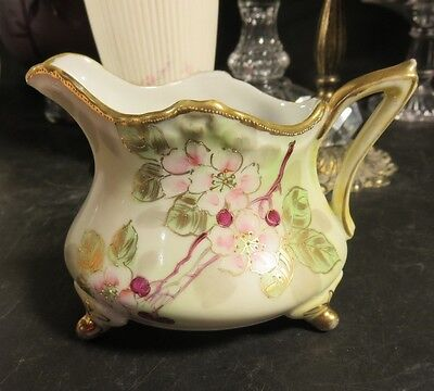 Hand Painted Nippon Footed Creamer Flowers & Gold Trim