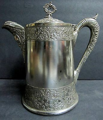 Antique Victorian E G Webster & Son Repousse Silver Plate Insulated Pitcher