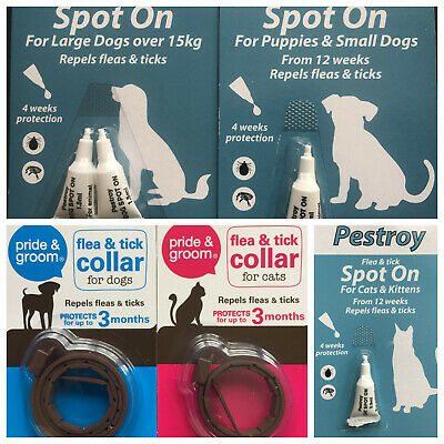 Spot On Flea &tick Treatment For Dogs,puppy,cats,kittens Drop Pipettes,collar