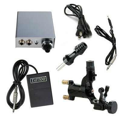 pro rotary tattoo machine gun with power supply foot pedal clip cord kit BLACK