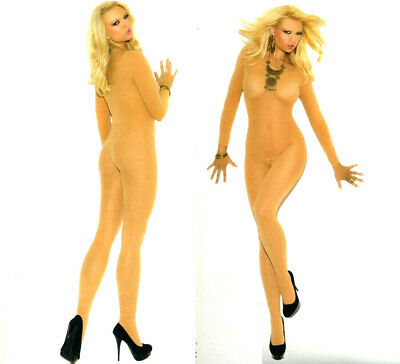 Elegant Moments 1606 Semi Opaque Sheer Body Stocking Reg or XL Queen Nude Beige